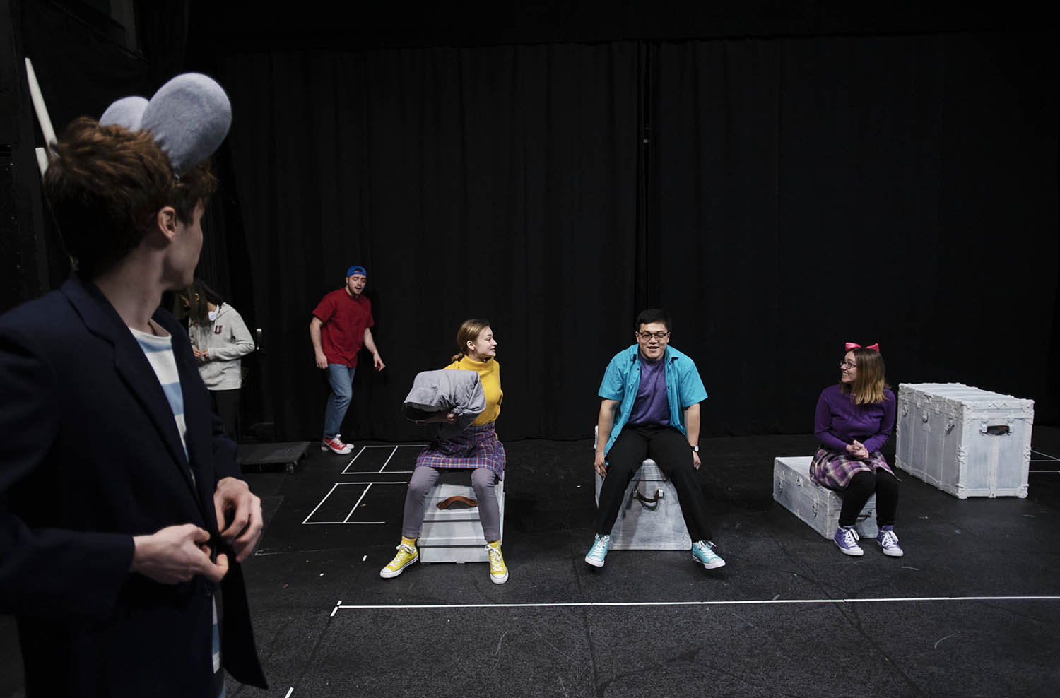 Union College interns rehearse for Stuart Little at The Yulman Theatre at Union College in Schenectady Friday, March 22, 2019. The production, which is made up of all Union College interns, is the first to be put on by PB&J Cafe at Proctors through the School of the Performing Arts.